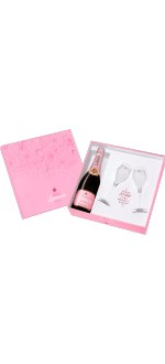LANSON ROSE PINK BOTTLE & BRANDED CHAMPAGNE FLUTES PINK GIFT SET