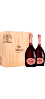 CHAMPAGNE RUINART BRUT ROSE DUO 2X75CL IN WOODEN BOX