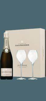 CHAMPAGNE LOUIS ROEDERER - BRUT PREMIER - 1 BOTTLE + 2 GLASSES GIFT BOX