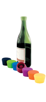 2 COLOURED BOTTLE STOPPERS - SILICONE WINE STOPPER - 109-503-00 - PULLTEX
