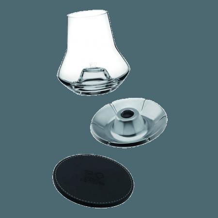 WHISKY TASTING SET - GLASS + LEATHER BASE + COOLER - REF 266097 - PEUGEOT