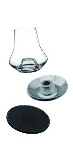 SET DE DEGUSTATION WHISKY - GLASS + SOCLE CUIR + COOLER - REF 266097 - PEUGEOT