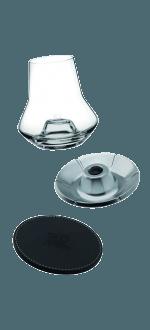 WHISKY TASTING SET - GLASS + LEATHER BASE + COOLER - PEUGEOT