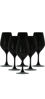 6 BLACK CRYSTAL WINE GLASSES 26CL FOR TASTINGS - FAVORIT NOIR