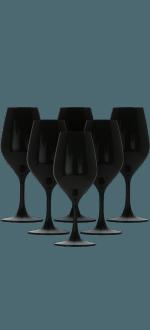 6 BLACK CRYSTAL WINE GLASSES 26CL FOR TASTINGS - FAVORIT NOIR