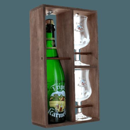 GIFT SET TRIPLE KARMELIET 1X75CL + 2 GLASSES - WOODEN CASE - BREWERY BOSTEELS