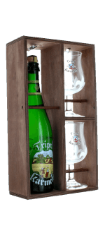 GIFT SET TRIPLE KARMELIET 1X75CL + 2 GLASSES - WOODEN CASE - BREWERY BOSTEELS