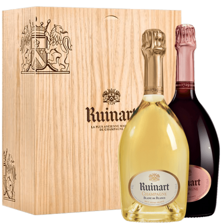 CHAMPAGNE RUINART BLANC DE BLANCS & BRUT ROSE DUO 2X75CL IN WOODEN BOX