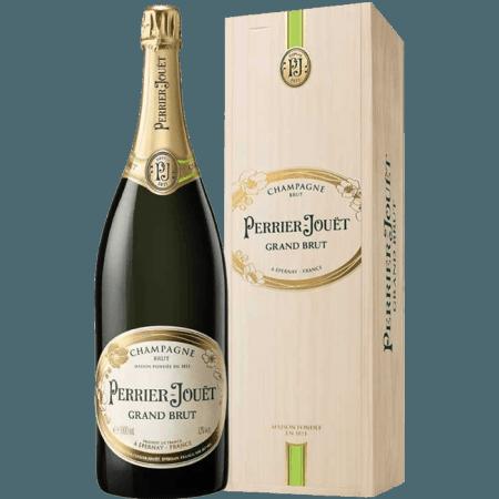 CHAMPAGNE PERRIER JOUËT - GRAND BRUT - WOODEN CASE - JEROBOAM