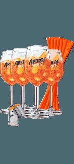 KIT 6 GLASSES APEROL + 200 PAILLES + 1 BOUCHON STOPPEUR