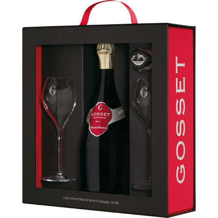 CHAMPAGNE GOSSET GRANDE RESERVE AND 2 GLASSES GIFT SET