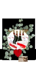 PACK SPECIAL MARIAGE MUMM CORDON ROUGE : CHAMPAGNE & SEAUX & CHAMPAGNE FLUTES & VASQUES