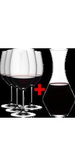 4 GLASSES CABERNET/MERLOT + 1 CARAFE MERLOT FREE - REF 5888/07 - GAMME VINUM - RIEDEL