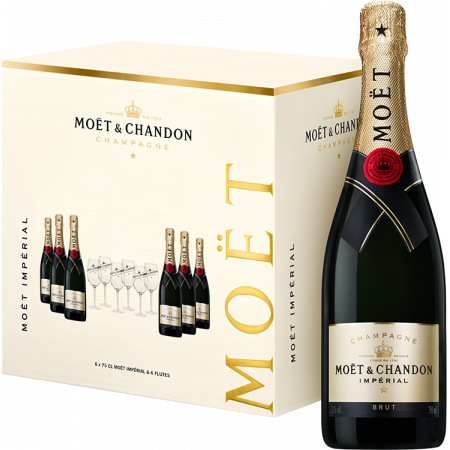 MIXED CASE 6 BOTTLES CHAMPAGNE MOET & CHANDON BRUT IMPÉRIAL = 6 GLASSES FREE