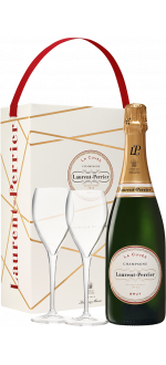CHAMPAGNE LAURENT PERRIER - LA CUVEE - EN GIFT SET 2 GLASSES