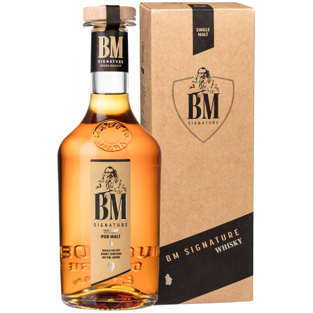 WHISKY PUR MALT 9 YEARS OLD - VIN JAUNE - IN PRESENTATION CASE - BM SIGNATURE